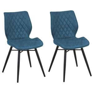Set of 2 Dining Chairs Blue Fabric Upholstery Black Legs Rustic Retro Style Beliani