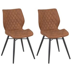 Set of 2 Dining Chairs Brown Fabric Upholstery Black Legs Rustic Retro Style Beliani