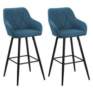 Set of 2 bar stools upholstered in blue fabric with padded backrest arms black metal legs Beliani