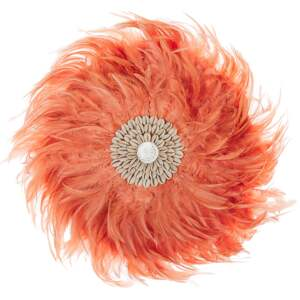 Wall Decoration Coral Red Feathers with Seashell Round 40 cm Boho Design Living Room Decor Beliani