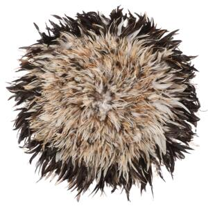 Wall Decoration Light Brown Feathers Round 60 cm Boho Accent Design Living Room Decor Beliani