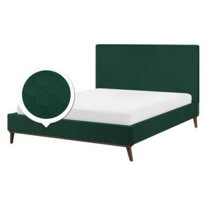 EU King Size Bed Green Fabric 5ft3 Upholstered Frame Honeycomb Quilted Beliani