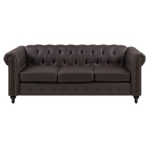 Chesterfield Sofa Brown Faux Leather Upholstery Dark Wood Legs 3 Seater Nailhead Trim Contemporary Beliani