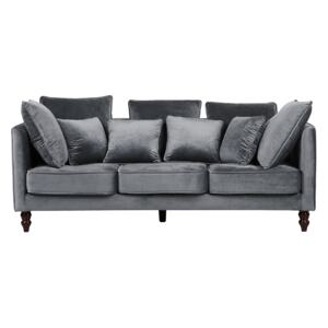 Sofa Grey Velvet Upholstered 3 Seater Cushioned Seat and Back with Wooden Legs Beliani