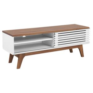 TV Stand Dark Wood White TV Up To 53ʺ Recommended 4 Shelves Cable Management Modern Beliani
