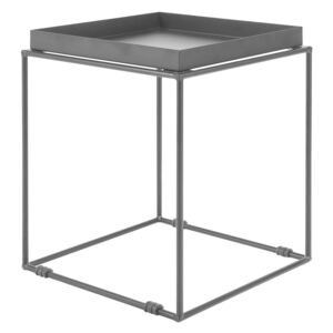 Side Table Black Metal 50 x 40 x 40 cm Tray Tabletop Industrial Accent Table Beliani