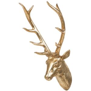 Wall Mounted Decor Gold Ceramic Deer Stag Head Trophy Glamour Beliani