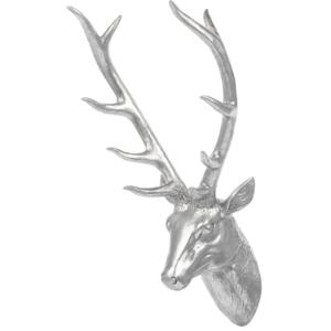 Wall Mounted Decor Silver Ceramic Deer Stag Head Trophy Glamour Beliani