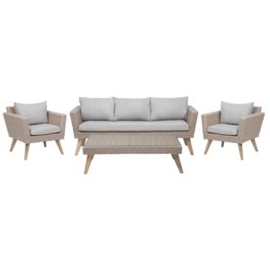 Patio Set Taupe Rattan 3 Seater 2 Chairs Grey Cushions Outdoor Country Beliani