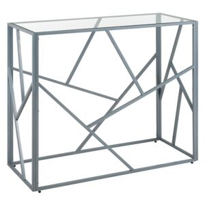 Console Table Transparent Glass Top Silver Metal Frame 85 x 40 cm Glam Modern Beliani