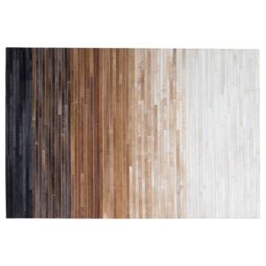 Rug Brown Beige Leather 140 x 200 cm Modern Patchwork Ombre Multicolour Handcrafted Beliani