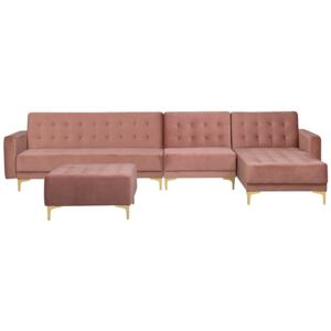 Corner Sofa Bed Pink Velvet Tufted Fabric Modern L-Shaped Modular 5 Seater with Ottoman Left Hand Chaise Longue Beliani