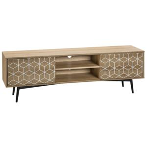 TV Stand Light Wood Veneer for up to 60ʺ TV with 2 Cabinets and Open Shelf Media Unit Beliani