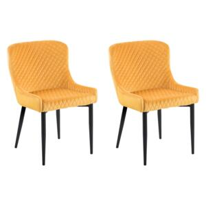 Set of 2 Dining Chairs Yellow Velvet Upholstered Quilted Beliani