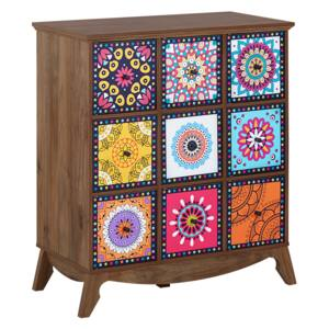 Sideboard Multicolour Moroccan Style with 9 Drawers Vintage Boho Beliani