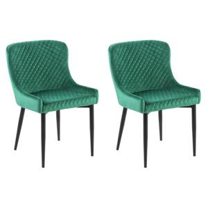 Set of 2 Dining Chairs Green Velvet Upholstered Quilted Beliani