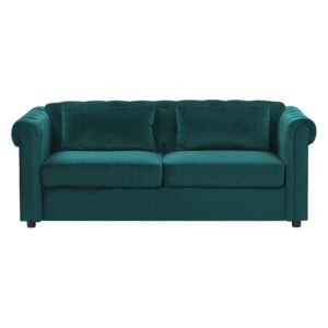 Chesterfield Sofa Bed Green Velvet Fabric Upholstery Dark Wood Legs 3 Seater with Mattress Cushions Contemporary Beliani