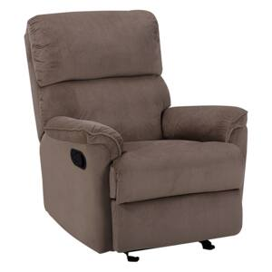 Armchair with Footrest Light Brown Polyester Modern Contemporary Style Beliani