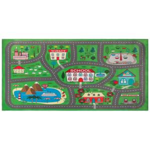 Rug Green Polyester City Road Map Town Theme Floor Play Mat Beliani