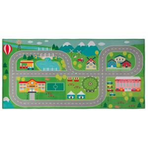 Rug Green Polyester City Road Map Town Travel Theme Floor Play Mat Beliani