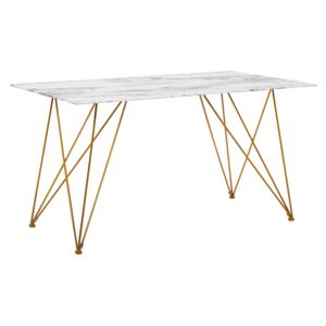 Dining Table Marble Effect White with Gold Tempered Glass Top Metal Legs 140 x 80 cm Glam Living Room Beliani