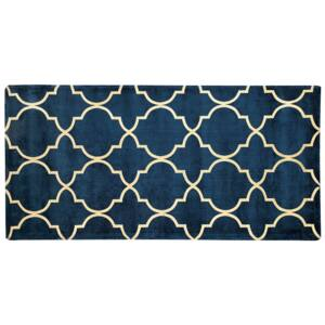 Rug Blue with Gold Quatrefoil Pattern Viscose with Cotton 80 x 150 cm Style Modern Glam Beliani