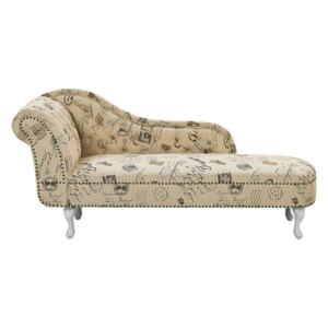 Chaise Lounge Beige Left Hand Polyester Fabric Buttoned Nailheads Stamp Print Beliani