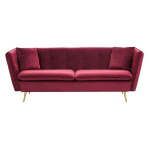 3 Seater Sofa Dark Red Velvet Fabric Upholstery Button Tufted with Gold Legs Beliani