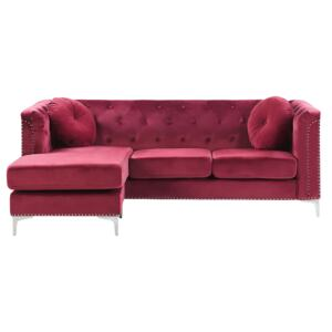 Corner Sofa Burgundy Velvet Upholstered 3 Seater Right Hand L-Shaped Glamour Additional Pillows with Tufting and Nailhead Trims Beliani