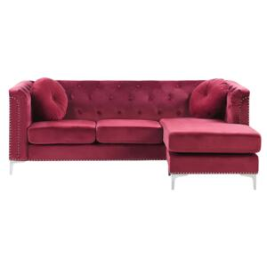 Corner Sofa Burgundy Velvet Upholstered 3 Seater Left Hand L-Shaped Glamour Additional Pillows with Tufting and Nailhead Trims Beliani
