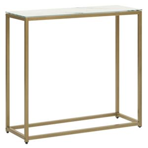 Console Table White Marble Effect Tempered Glass Top Gold Metal Base Glam Modern Living Room Bedroom Hallway Beliani