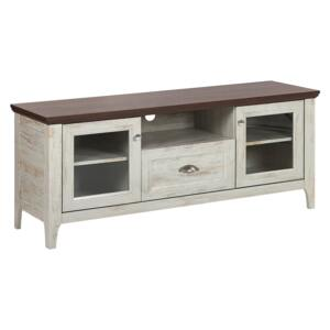 TV Stand Cream with Dark Wood 58 x 141 cm with Glass Display Cabinets and Drawer Retro Beliani