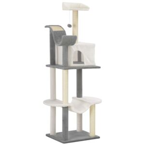 VidaXL Cat Tree with Sisal Scratching Posts Grey and White 155 cm