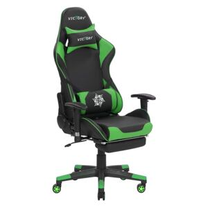 Gaming Chair Black and Green Faux Leather Swivel Adjustable Armrests and Height Footrest Modern Beliani