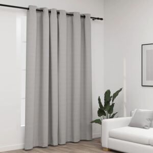 Linen-Look Blackout Curtains with Grommets Grey 290x245cm