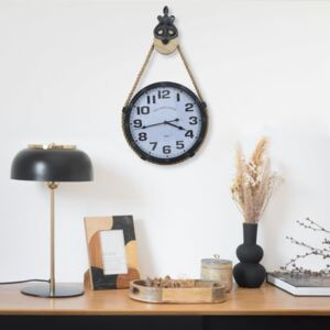 Wall Clock with Rope Black and Brown 40x8x82 cm Iron and MDF