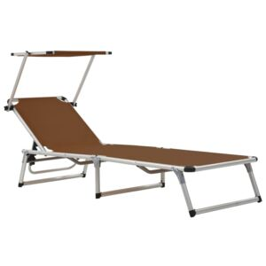 Folding Sun Lounger with Roof Aluminium and Textilene Brown