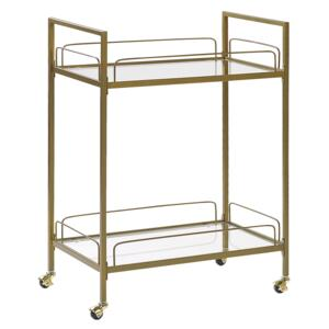 Kitchen Trolley Gold Metal Legs Tempered Glass Top with Shelf and Castors Glam Beliani
