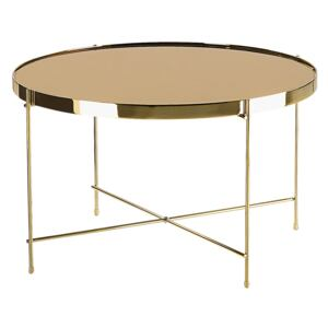 Coffee Table Golden Brown Tempered Glass Top Gold Metal Legs Round Glam Shiny Beliani