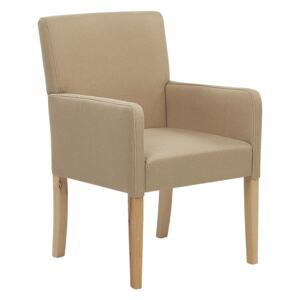 Dining Chair Beige Fabric Upholstery Wooden Legs Elegant Seat with Arms Beliani