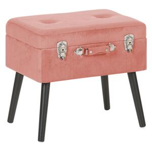 Stool with Storage Pink Corduroy Upholstered Black Legs Suitcase Design Buttoned Top Beliani