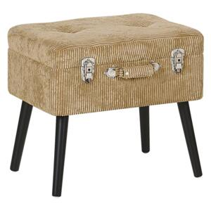 Stool with Storage Beige Corduroy Upholstered Black Legs Suitcase Design Buttoned Top Beliani