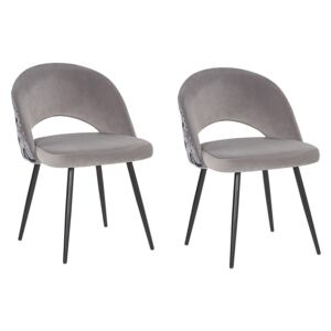 Set of 2 Dining Chairs Grey Velvet Black Metal Legs Powder Coated Cut-Out Back Floral Pattern Beliani