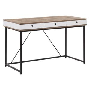 Home Office Desk Light Wood Top 120 x 60 cm with Black Powder Coated Frame 3 Drawers Beliani