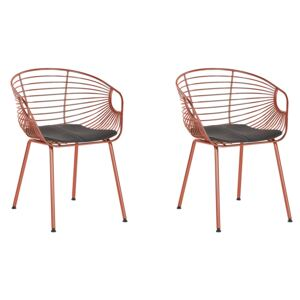 Set of 2 Dining Chairs Red Copper Metal Wire Design Faux Leather Black Seat Pad Glam Industrial Modern Beliani