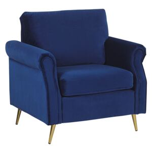 Armchair Cobalt Blue Velvet Fabric Upholstery Gold Metal Legs Removable Seat and Back Cushions Retro Glam Style Beliani