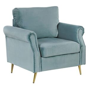 Armchair Mint Green Velvet Fabric Upholstery Gold Metal Legs Removable Seat and Back Cushions Retro Glam Style Beliani