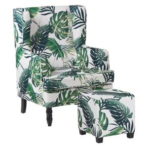 Armchair with Footstool White and Green Leaf Pattern Fabric Wooden Legs Wingback Style Beliani
