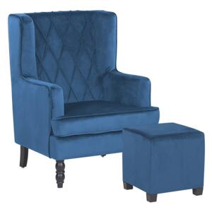 Armchair with Footstool Blue Velvet Fabric Wooden Legs Wingback Style Beliani