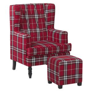 Armchair with Footstool Red and Black Chequered Pattern Fabric Wooden Legs Wingback Style Beliani